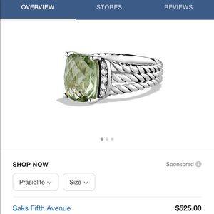 Petite Wheaton Ring With Prasiolite and Diamonds